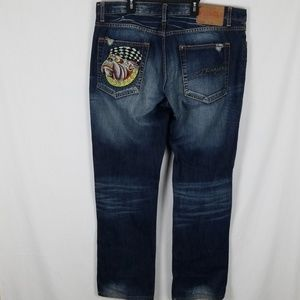 ED HARDY Mens Dark Wash Jeans Embroidered 38x34